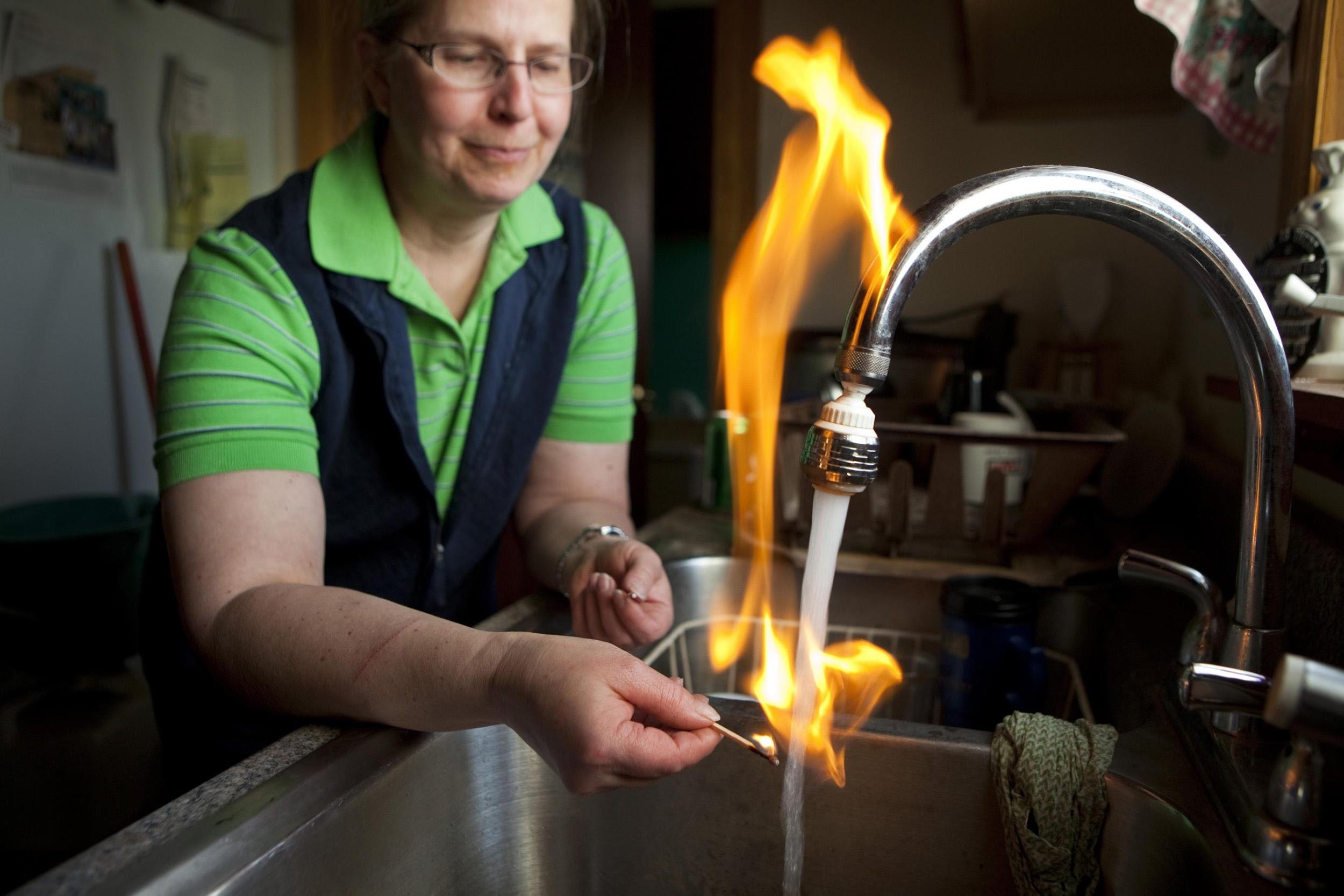 Image result for shale gas fracking tap pollution